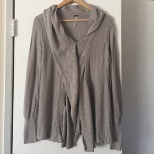 Free People Beige Draped Button Front Sweater